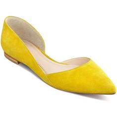 Marc Fisher Ltd. Sunny Suede Pointed Toe d'Orsay Flats (570 RON) ❤ liked on Polyvore featuring shoes, flats, yellow, pointy toe shoes, flat pumps, yellow flats, yellow flat shoes and pointy toe flat shoes