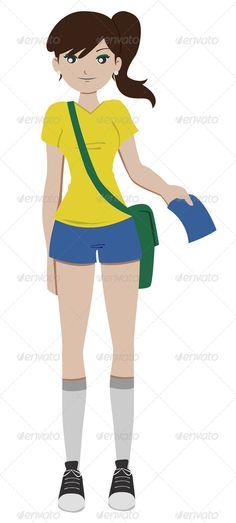 Realistic Graphic DOWNLOAD (.ai, .psd) :: http://jquery.re/pinterest-itmid-1005861025i.html ... Soccer Girl ...  bag, beautiful, brazil, brazilian uniform, brown hair, cartoon, cute, football, girl, illustration, lady, model, player, ponytail, pretty, soccer, soccer player, soccer uniform, sport, uniform, vector, woman  ... Realistic Photo Graphic Print Obejct Business Web Elements Illustration Design Templates ... DOWNLOAD :: http://jquery.re/pinterest-itmid-1005861025i.html