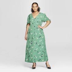 2880e202125ac Women s Plus Size Floral Print Short Tie Sleeve V-Neck Button Detail Maxi  Dress - Who What Wear Green 3X