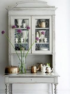 painted pale gray hutch
