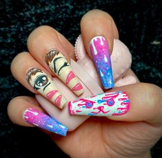 Dark Art Drawings, Paws And Claws, Dope Nails, Long Acrylic Nails, Press On Nails, Nail Inspo, Overwatch, Pretty Nails, Wigs