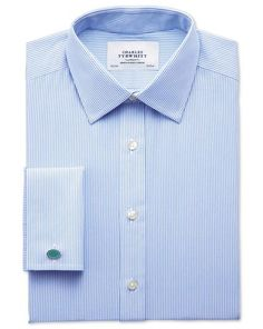 Slim fit non-iron bengal stripe sky blue shirt