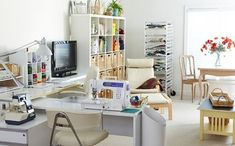 Peek into stylish and functional sewing rooms and work spaces! Steal storage ideas for your own room or be inspired to carve out room in your home for an organized sewing space. Sewing Room Design, Sewing Room Storage, Sewing Spaces, Sewing Room Organization, Sewing Rooms, Sewing Studio, Craft Storage, Storage Ideas, Sewing Room Furniture