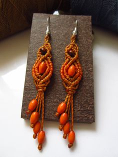 Orange Macrame Earrings with wood beads Handmade