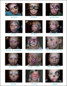 Face painting ideas:  should also have on hand a mirror, paint tray, wet wipes, paper towel, q-tips and bobby-pins