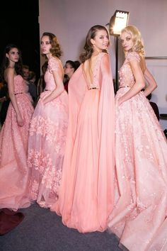 I love the idea of bridesmaids in different gowns all in one unifying colour. (Zuhair Murad at Couture Spring Zuhair Murad, Beautiful Gowns, Beautiful Outfits, Glamour, Runway Fashion, Fashion Show, 3d Fashion, Pink Fashion, Paris Fashion
