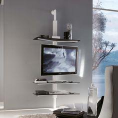 Kino swivel TV stand with glass shelves - ARREDACLICK