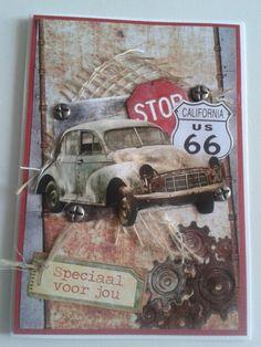 Mannenkaart met oude auto en splitpennen in vorm van schroeven.