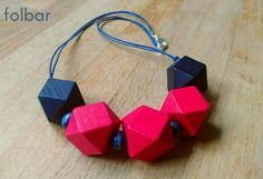 Chunky wooden geometric fuchsia pink and navy necklace £15.00