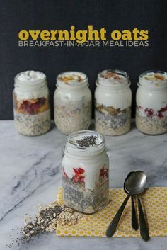 a Jar Overnight Oats In A Jar Recipes, Easy And Quick Breakfast!Overnight Oats In A Jar Recipes, Easy And Quick Breakfast! Overnight Oats In A Jar, Oatmeal In A Jar, Mason Jar Oatmeal, Healthy Overnight Oats, Overnight Chia Pudding, Mason Jar Breakfast, Breakfast Desayunos, Overnight Breakfast, Breakfast Smoothies
