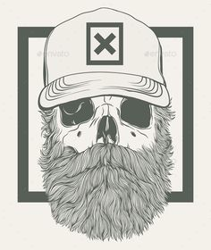 Bearded Skull Vector Illustration EPS