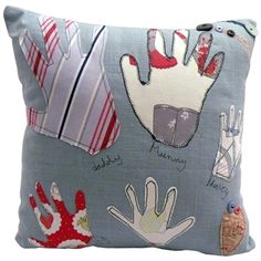 Hand print cushion, great idea!