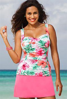 Tankini Sets - Shore Club Pink Hibiscus Twist-Front Slit Skirtini