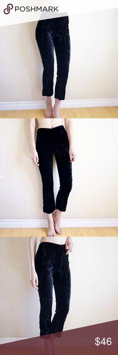 fda129cb9ed7ec Velvet cropped flare trousers Black vintage crushed velvet high waisted  pants. Best fit for a