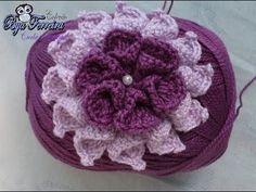 """Jogo de banheiro de crochê com flores """"Uva Roxa"""" por JNY Crochê - YouTube"""