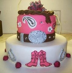 Cowgirl Cake by Sweetdlights, via Flickr cute, but with Turquoise and orange and gold trim.