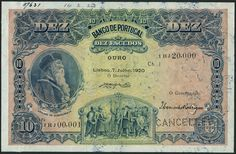 (†) Banco de Portugal, printer's archival specimen 10 Escudos, 7 July 1920, serial number run 1HJ 00,001 to 1HJ 20,000, blue on pink and yellow underprint, portrait of Afonso de Albuquerque at left, allegorical scene of discovery at lower centre, reverse brown and pale yellow, head of Liberty at right, river gods at lower centre, perforated CANCELLED