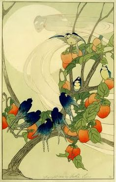 Woodblock print by American artists Bertha Lum (born 1869), who helped make Japanese and Chinese woodblock art known outside Asia