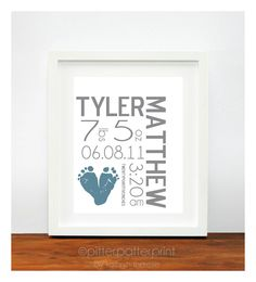 Baby Footprint Art - Baby Name Print -  Blue Gray Baby Boy Nursery - Modern Birth Announcement Poster - Unique Baby Shower Gift. $30.00, via Etsy.