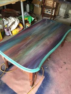 just a coffee table no way this is art spitchallenge, painted furniture, Stain the Edges #artpainting