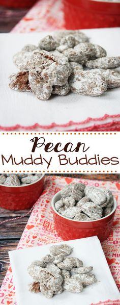 Pecan Muddy Buddies - the perfect treat for the sweetie in your life! Pecan halves coated in peanut butter, chocolate, and powdered sugar - this makes a great gift, too!