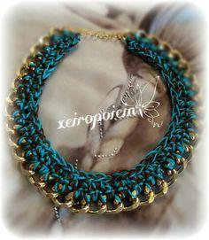 Πλεκτό κολιέ με βελονάκι  Chroset necklace Χειροποίητα κοσμήματα Turquoise Necklace, Crochet, Jewelry, Chrochet, Jewellery Making, Jewels, Teal Necklace, Crocheting, Jewlery