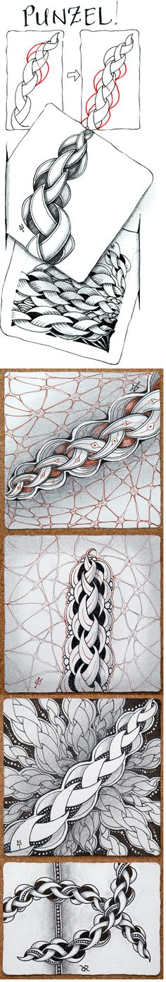 Punzel. Occifial Zentangle tangelation with examples/variations.