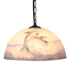 Blue Dolphin Patterned Pendant Light with 1 Light