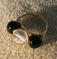 Black Onyx Ring  Black & Clear Beads in Gold by JewelryArtistry