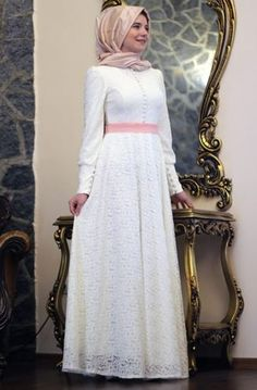 Mevra - Dantel Ekru Elbise