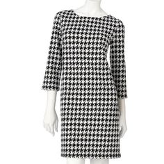 Houndstooth Shift Dress Houndstooth shift dress with 3/4 sleeve and exposed zipper closure on back Apt. 9 Dresses