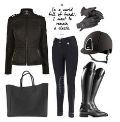 """classic black look"" by eqlmag on Polyvore featuring Mode, Barbour, Roeckl, classic, black, equestrian und barbour"