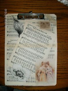 I took a plain old clipboard & dolled it up! I used ModPodge & glue to adhere my favorite type pictures & voila'! Music Crafts, Book Crafts, Fun Crafts, Paper Crafts, Vintage Sheets, Vintage Paper, Student Gifts, Teacher Gifts, Altered Books