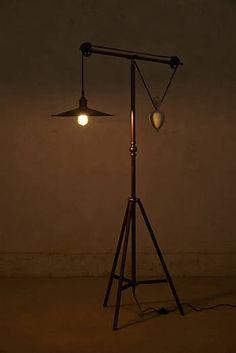 Floor standing lamp original design leather reflector castor counterbalance floor lamp aloadofball Images