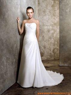 Chiffon schlichtes schönes Brautkleid Bodenlang mit Schleppe