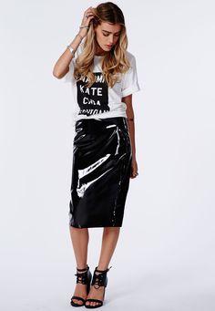Missguided - Mircia PVC Midi Skirt In Black