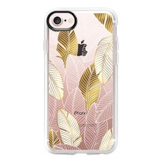 Gold tropical leaves pattern - iPhone 7 Case And Cover (145 ILS) ❤ liked on Polyvore featuring accessories, tech accessories, iphone case, apple iphone case, iphone cover case, clear iphone case, iphone cases and gold iphone case