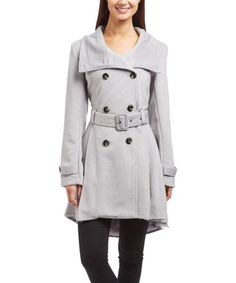 $59.99 marked down from $120! Silver Belted Peacoat #silver #gray #grey #peacoat #sale #jacket #women #coat #zulilyfinds