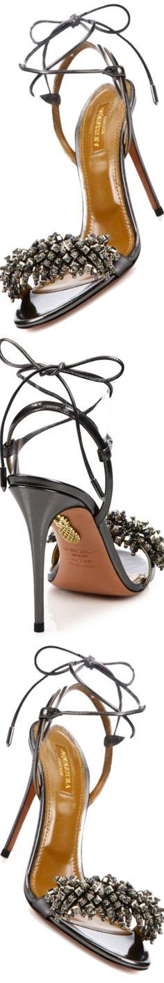 NEW Aquazzura Monaco Crystal & Leather Sandals