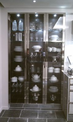 Choosing Your New Kitchen Cabinets Stainless Steel Kitchen Cabinets, New Kitchen Cabinets, Kitchen Cabinet Doors, Tall Cabinets, Stainless Steel Furniture, Glass Cabinets, Mirror Cabinets, Crockery Cabinet, Cabinet Decor