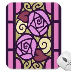 Stained glass art deco rose design in pink, light olive, pale yellow, lilac and dusty rose with dark dusty purple leading. Size: x Color: gold/pink. Material: Value Poster Paper (Matte). Rose Design, Design Art, Art Deco Posters, Card Patterns, Arts And Crafts Movement, Custom Posters, Stained Glass Art, New Art, Flower Art