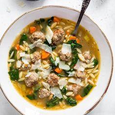 Easy Italian Wedding Soup - Spoonful of Flavor Crockpot Italian Wedding Soup, Italian Soup Recipes, Orzo Recipes, Cooking Recipes, Cooking Ideas, Crockpot Recipes, Dinner Recipes, Rice Like Pasta, Homemade Focaccia Bread