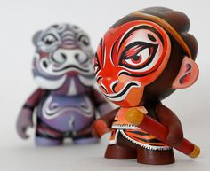 Pigsy and Monkey from Journey to the West, customized Munny figures