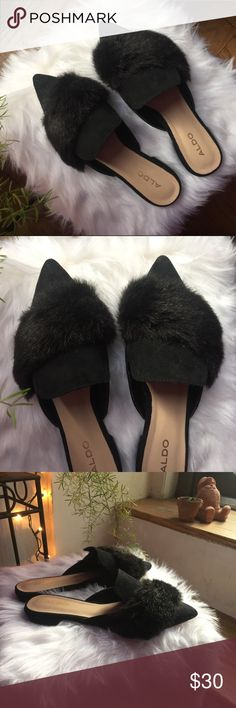 Aldo Dorriety Faux-Fur Mule 🌿 NEVER USED - Plush faux- fur details - pointed-toe - slip-on - mule - sophisticated - the perfect everything shoe 🙌🏻 Aldo Shoes Mules & Clogs
