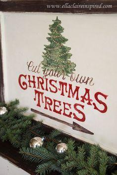 {Ella Claire}: Free Christmas Tree Sign Template {Tutorial} like the arrow