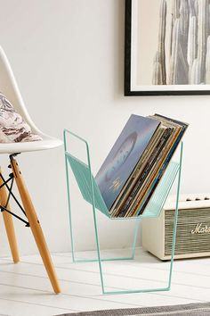 Vinyl record rack - UrbanOutfitters.com: Awesome stuff for you & your space