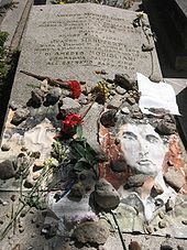 Grave of Amedeo Modigliani and Jeanne Hébuterne in Père Lachaise Cemetery.