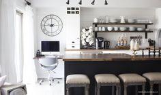 AKA Design   black, white and wood kitchen