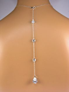Back Necklace Pear Shaped Crystal Teardrop by TwoBeWedJewelry, $35.00 >>>> DIY