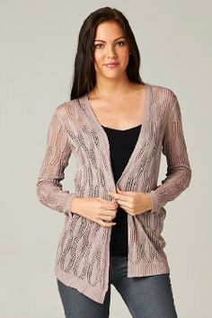 Open Knit Madison Cardigan in Dust Rose.